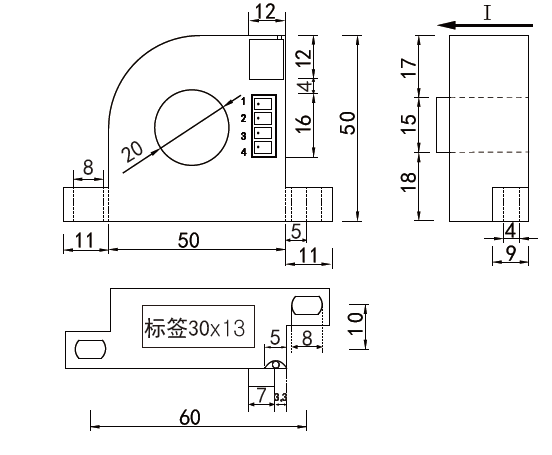 单相交流电流传感器-B5结构尺寸图